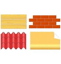 Isolated wood boards bricks ply shingles and vector