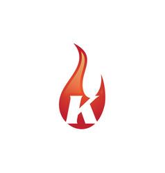 k letter flame logo vector image
