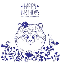 kitten birthday vector image vector image