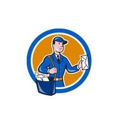Mailman postman delivery worker circle cartoon vector