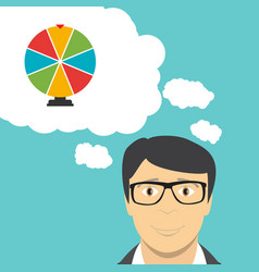 man businessman thinks about wheel of fortune vector image vector image