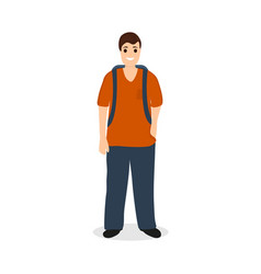 Man traveler tourist with a backpack vector