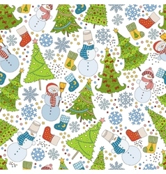 Pattern with Christmas tree snowflake and snowman vector image vector image