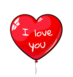 Red heart shaped balloon labeled i love you vector