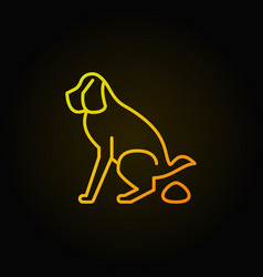Shitting dog pooping line icon vector