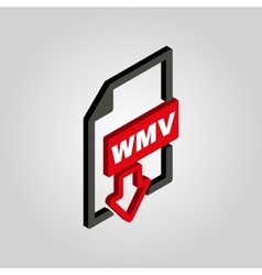 The wmv icon3d isometric video file format vector