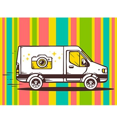 Van free and fast delivering photo camera vector