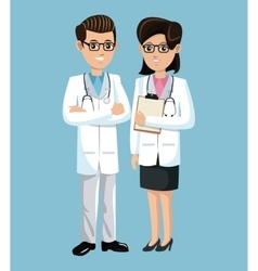Woman and man doctor medical employees clinic vector