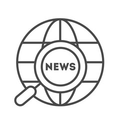 World news linear icon vector