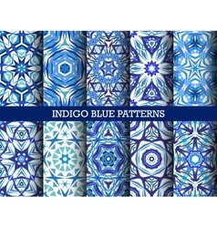 Indigo blue kaleidoscopic patterns set vector