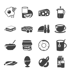 Breakfast Black White Icons vector image