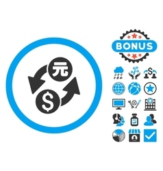 Dollar yuan exchange flat icon with bonus vector