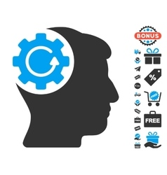 Intellect gear rotation icon with free bonus vector