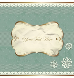 Vintage border with lace and flowers vector image