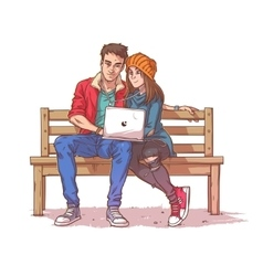Young couple sitting on a bench and listen to vector