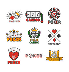 Gambling poster of casino and poker logotypes on vector