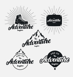 Set of the adventure begins hand written lettering vector