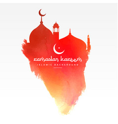 creative mosque design made with red paint vector image