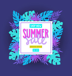 bright summer sale flyer tropical palm leaves vector image