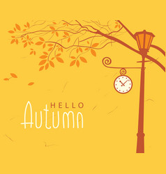 autumn landscape with trees in the park and clock vector image