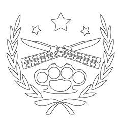 2 crossed knifes and brass knuckle line-art emblem vector