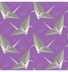Origami paper cranes Seamless pattern vector image