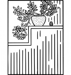 Shelf and flower vector