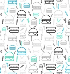 Seamless pattern colored burgers and fries on vector