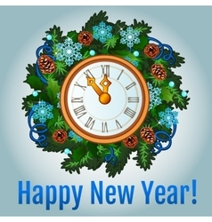 Clock with new year decorations vector