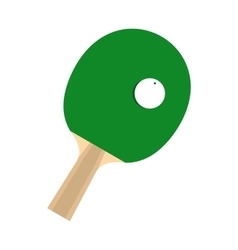 Green racket for playing table tennis flat icon vector