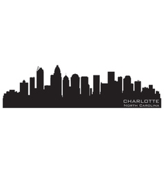 Charlotte north carolina skyline detailed silhouet vector