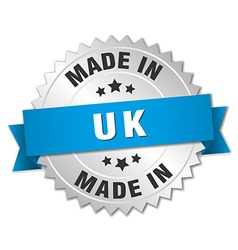 Made in uk silver badge with blue ribbon vector