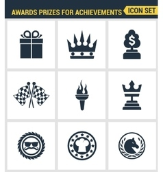 Icons set premium quality of awards prizes for vector