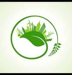 Eco city concept with leaf stock vector