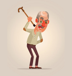 Angry old man character vector
