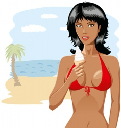 Bikini girl with ice-cream 01 vector image