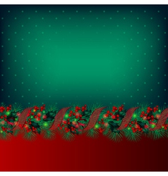 bright green christmas background decorated by gar vector image vector image