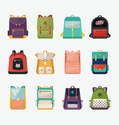 Children or kids school bags or rucksacks vector