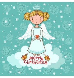 Christmas card with an angel vector