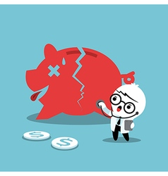 doctor examining a broken piggy bank vector image