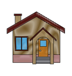 facade house home stairs chimney door exterior vector image vector image