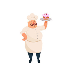 fat cook holding delicious cake with pink icing on vector image vector image