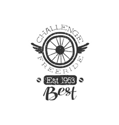 Freeride Vintage Label With Winged Wheel vector image vector image