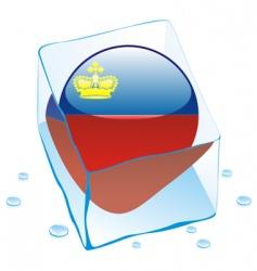 frozen button flag of liechtenstein vector image vector image