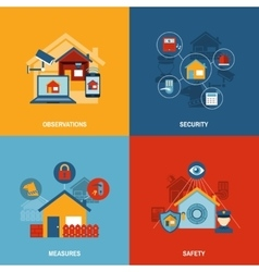 Home security 4 flat icons square vector