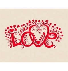 Love hand lettering Valentines day card vector image