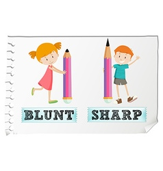 Opposite adjectives with blunt and sharp vector image