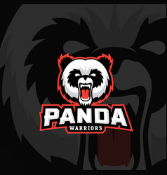 Panda warriors abstract sign emblem or vector