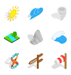Prediction icons set isometric style vector