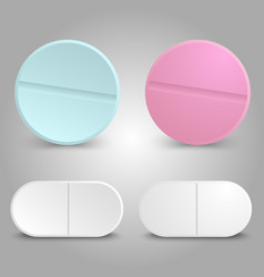 realistic drug design - medicinal pills set vector image vector image